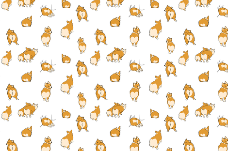 Corgi Butts fabric by anniewilsey on Spoonflower - custom fabric