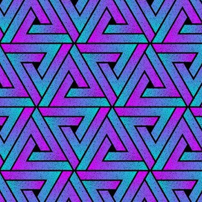 Grunge Key Triangles - Cyan Magenta