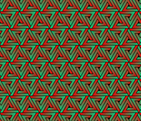 Grunge Key Triangles - Teal & Red fabric by samalah on Spoonflower - custom fabric