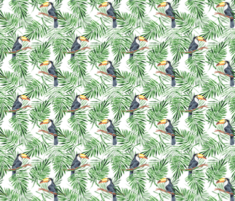 Palm leaves and Toucan fabric by gribanessa on Spoonflower - custom fabric