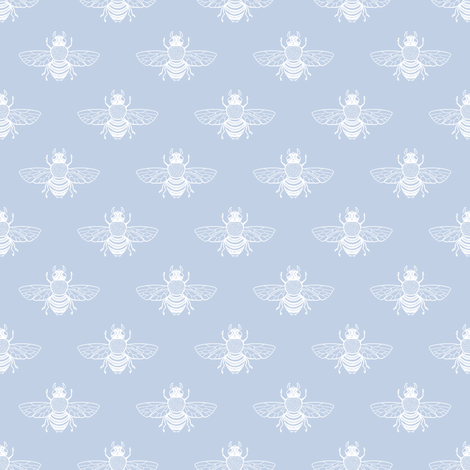 Baby Bee Upright, Faded Blueberry 1 fabric by thistleandfox on Spoonflower - custom fabric