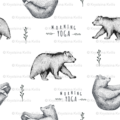 Hand drawn black and white illustration of yoga bear pattern.