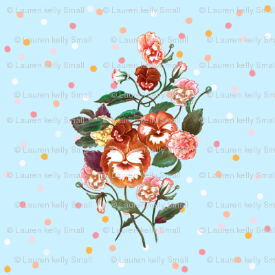Pansy Posy, Red Orange on Blue & Dots