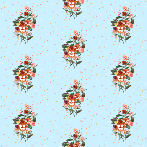 Pansy Posy, Red Orange on Blue & Dots fabric by thistleandfox on Spoonflower - custom fabric
