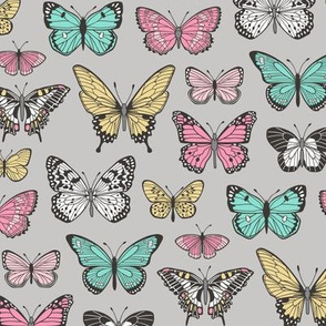 Butterflies Butterfly Nature Fabric On Grey