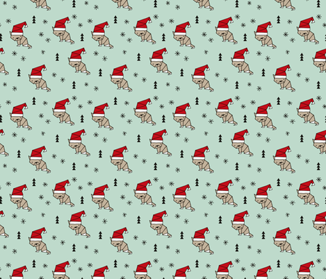 Christmas kitten origami cat with a santa hat happy holidays fabric mint gender neutral fabric by littlesmilemakers on Spoonflower - custom fabric