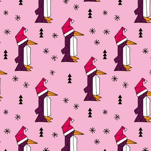 Christmas penguins origami penguin with a santa hat happy holidays fabric pink girls