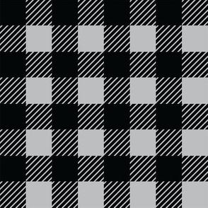 Buffalo plaid - 1 inch - Grey & Black