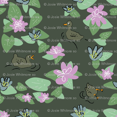 Ducks And Lily Pads Wallpaper Josiewhitmoreso Spoonflower