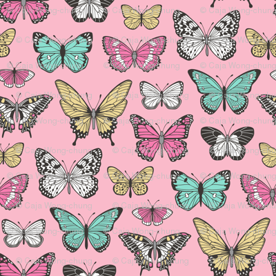 Butterflies Butterfly Nature Fabric On Pink