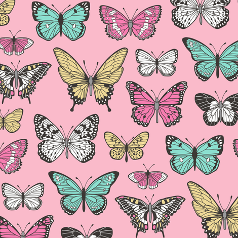 Butterflies Butterfly Nature Fabric On Pink fabric by caja_design on Spoonflower - custom fabric