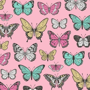 Butterflies Butterfly Nature Fabric On Pink