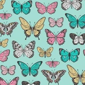 Butterflies Butterfly Nature Fabric On  Mint Green