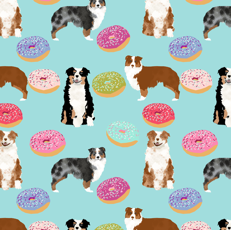 Australian Shepherds Blue Dog Fabric Cute Donuts Fabric