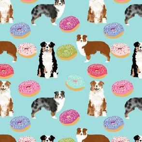 australian shepherds blue dog fabric cute donuts  fabric sweets pink  aussie dog cute dog design dog patterns cute