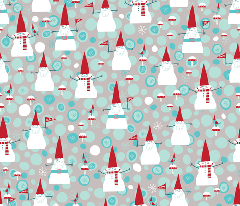 Snow Gnomes fabric by cynthiafrenette on Spoonflower - custom fabric