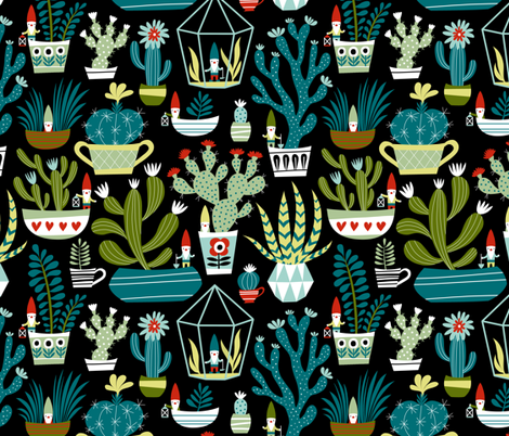mini garden gnomes fabric by mirabelleprint on Spoonflower - custom fabric