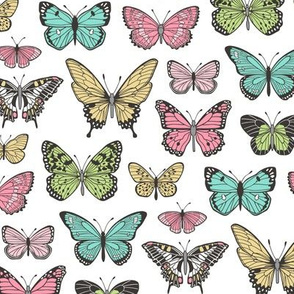Butterflies Butterfly Nature Fabric On  White