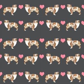 grey australian shepherd love hearts cute dog fabric