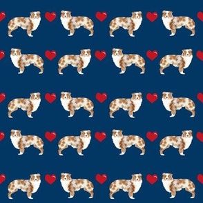 navy australian shepherd love hearts cute dog fabric