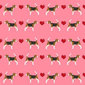 flamingo pink beagle love hearts cute dog fabric