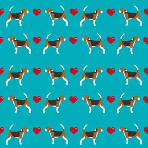 peacock blue beagle love hearts cute dog fabric