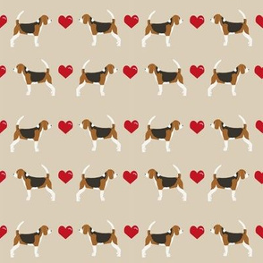 sand beagle love hearts cute dog fabric