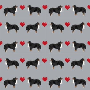 bernese mountain dog fabric - love bernese dog, dogs fabric, cute dog, hearts, - grey