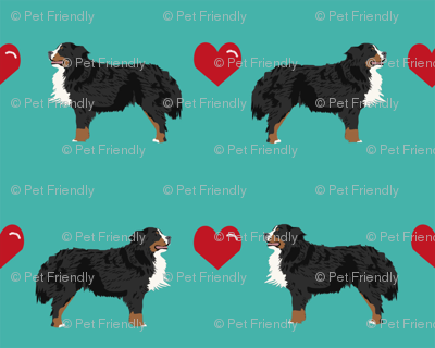 turquoise biewer terrier love hearts cute dog fabric