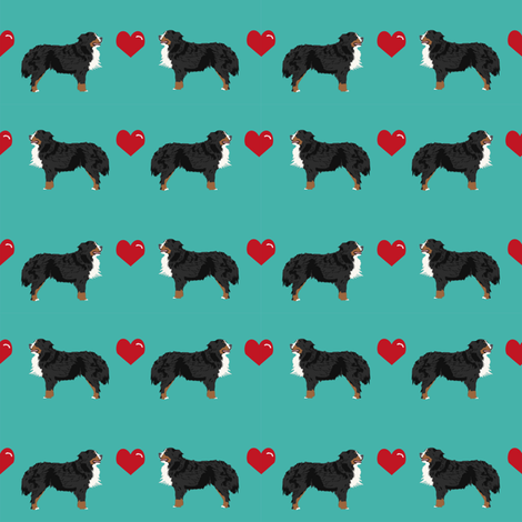 turquoise biewer terrier love hearts cute dog fabric  fabric by petfriendly on Spoonflower - custom fabric