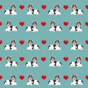 marine blue biewer terrier love hearts cute dog fabric