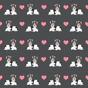 shadow grey biewer terrier love hearts cute dog fabric