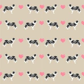 sand border collie love hearts cute dog fabric