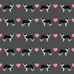 shadow grey border collie love hearts cute dog fabric