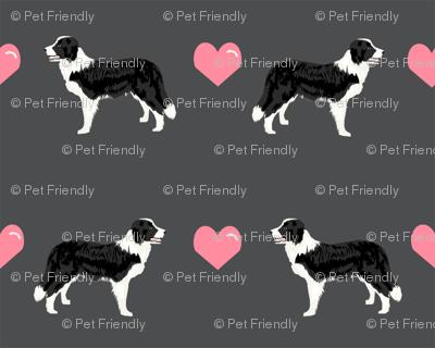 shadow grey border collie love hearts cute dog fabric
