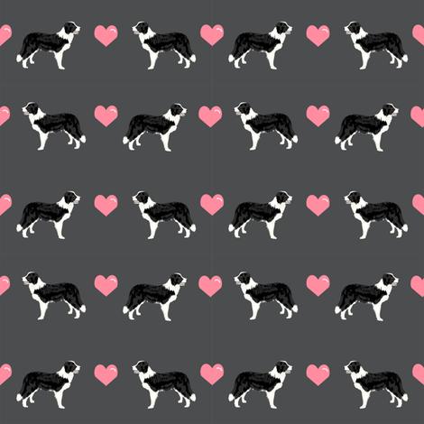 shadow grey border collie love hearts cute dog fabric  fabric by petfriendly on Spoonflower - custom fabric