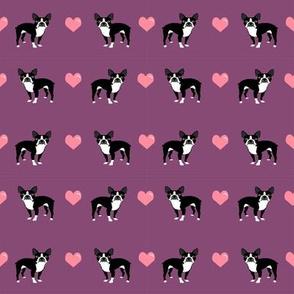 amethyst purple boston terrier love hearts cute dog fabric