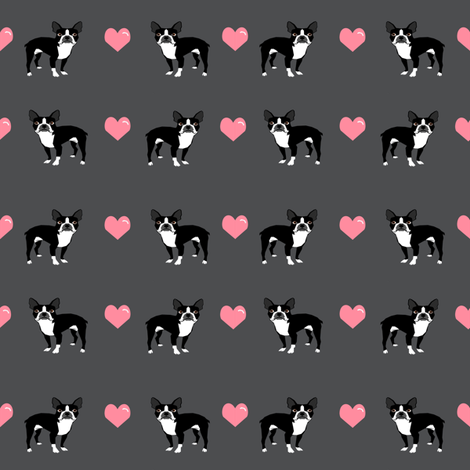 grey boston terrier love hearts fabric cute dog fabric  fabric by petfriendly on Spoonflower - custom fabric