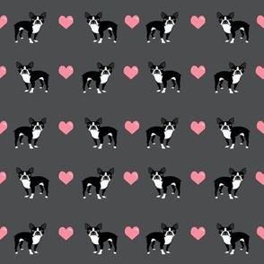grey boston terrier love hearts fabric cute dog fabric