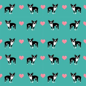 turquoise boston terrier love hearts cute dog fabric