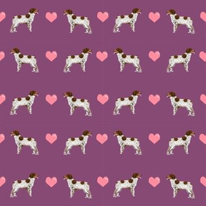 brittany spaniel love fabric amethyst purple cute hearts dog fabric