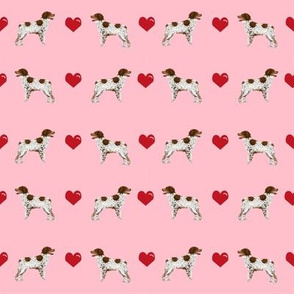 brittany spaniel love fabric blossom pink cute hearts dog fabric