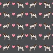 brittany spaniel love fabric shadow grey cute hearts dog fabric