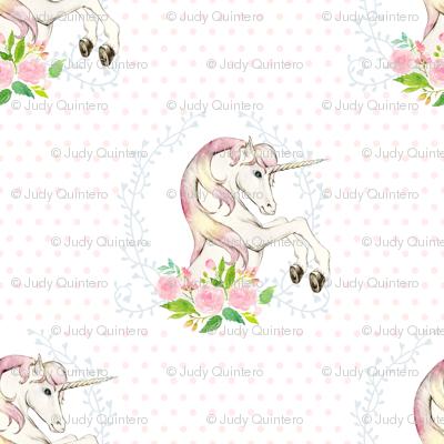 "7"" Sweet Floral Unicorn Polka Dots"