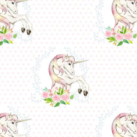 "7"" Sweet Floral Unicorn Polka Dots  fabric by shopcabin on Spoonflower - custom fabric"