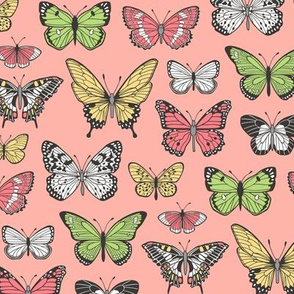 Butterflies Butterfly Nature Fabric On Peach Pink
