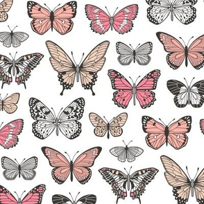 Butterflies Butterfly Nature Fabric Black & White  Peach Pink on White