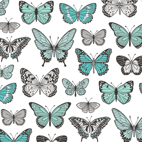Butterflies Butterfly Nature Fabric Black & White Blue Mint fabric by caja_design on Spoonflower - custom fabric