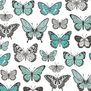 Butterflies Butterfly Nature Fabric Black & White Blue Mint