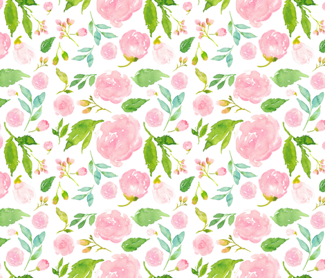 Once Upon A Time Floral White Background Fabric